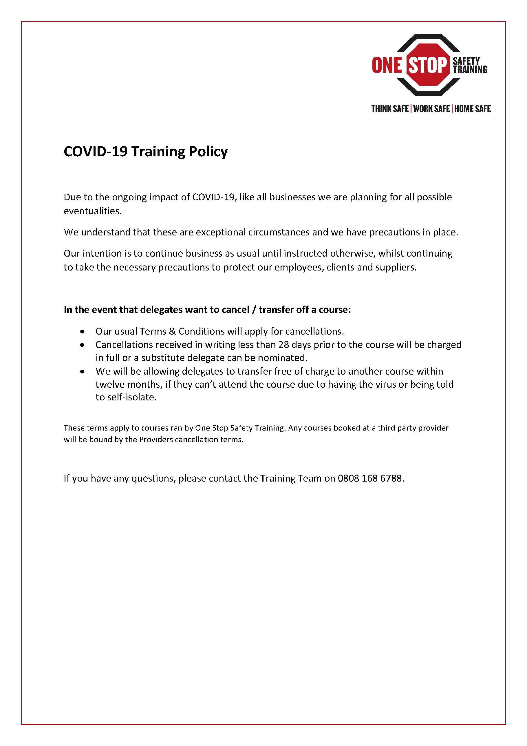 COVID-19 Training Policy